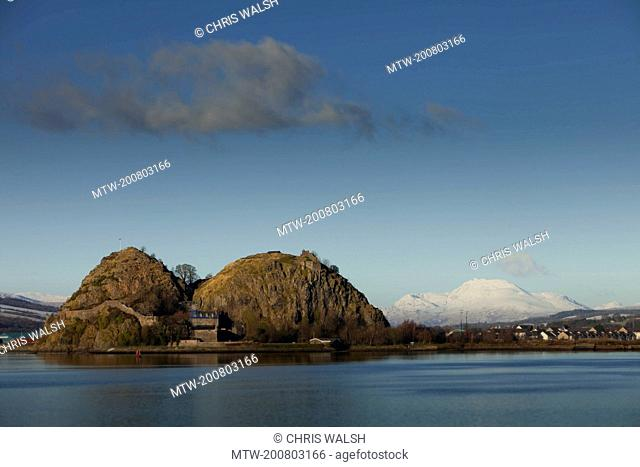 Dumbarton rock castle winter snow hills blue sky