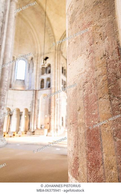 Europe, Germany, North Rhine-Westphalia, Cologne, view in the crossing of Great St. Martin Church, in the foreground remains of the Romanesque wall painting