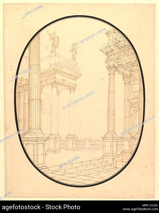Architectural Perspective, in an Oval: Porch of a Palace with Corinthian Colums. Artist: Workshop of Ferdinando Galli Bibiena (Italian