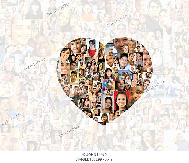Illuminated heart in collage of smiling faces