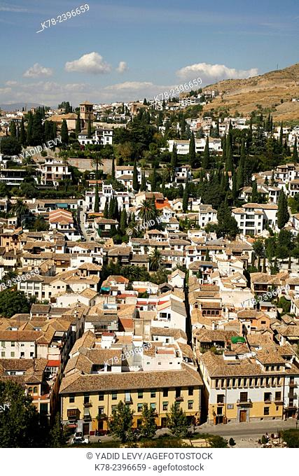 View over Granada from Palacio Nazaries, Alhambra Palace, Granada, Andalucia, Spain