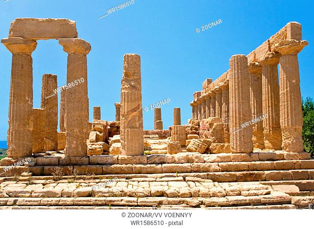 view on Dorian columns of Temple of Juno in Valley of the Temples in Agrigento