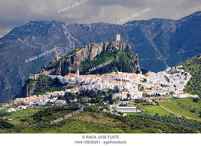 Spain, Europe, Zahara de la Sierra, Andalucia Region, Cadiz Province, City, village, mountain, mountains, Sierra de Gr