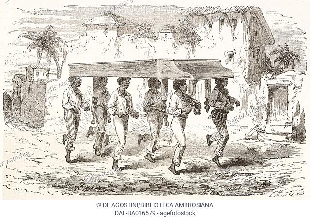 Natives carrying a piano in Rio de Janeiro, drawing by Riou from a sketch by Biard, from Two years in Brazil, by Auguste Francois Biard, 1858-1859