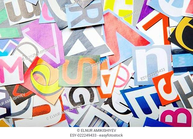 Newspaper clippings with various letters