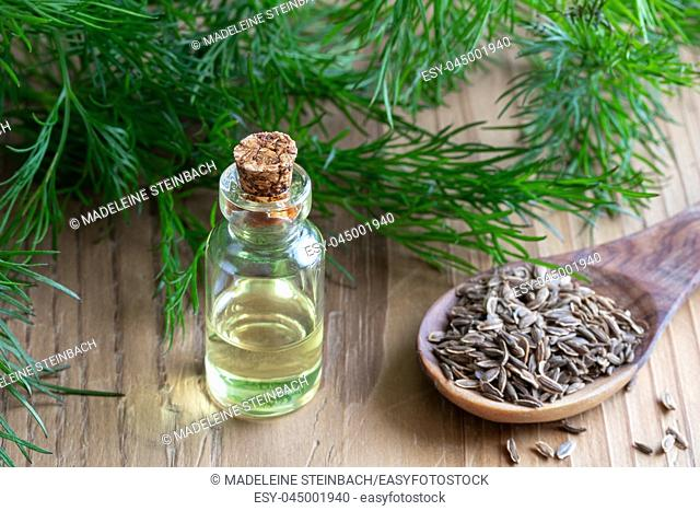 A bottle of dill seed oil with Anethum graveolens seeds and leaves