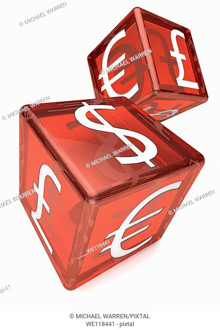 Two Red dice with US, UK and Euro symbols printed on each side  White background, Cutout