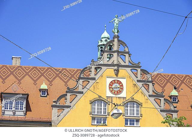 Lindau am Bodensee, Bavaria, Germany - Gable of the former main post office