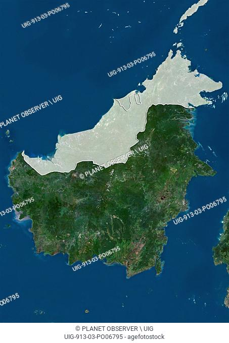 Satellite view of Kalimantan, the Indonesian portion of the island Borneo (with administrative boundaries and mask). This image was compiled from data acquired...
