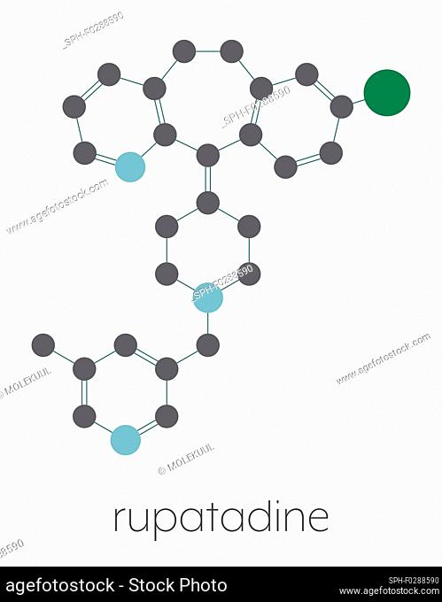 Rupatadine antihistamine drug molecule. Stylized skeletal formula (chemical structure): Atoms are shown as color-coded circles connected by thin bonds