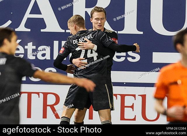 OHL's Thibault Vlietinck celebrates after scoring during a soccer match between RE Mouscron and Oud-Heverlee Leuven, Tuesday 15 December 2020 in Mouscron