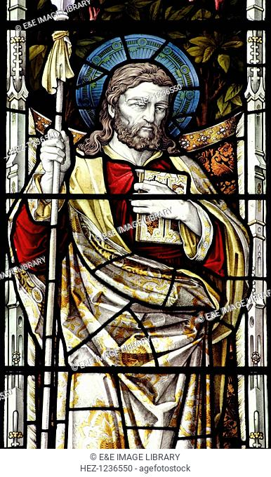 St Thomas, stained glass, St Andrew's Church, Hingham, Norfolk. One of the Twelve Apostles of Christ