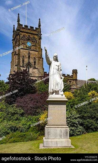 The statue of Richard Baxter in front of St Marys Church in Kidderminster