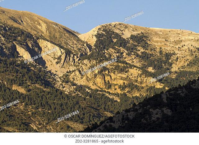 Port del Comte massif at sunset. Pre-Pyrenees. Lleida province. Catalonia. Spain
