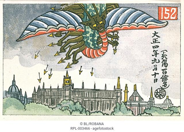 Flying dragon shooting arrows at a city. The dragon represents a German airship dropping bombs on London during World War One