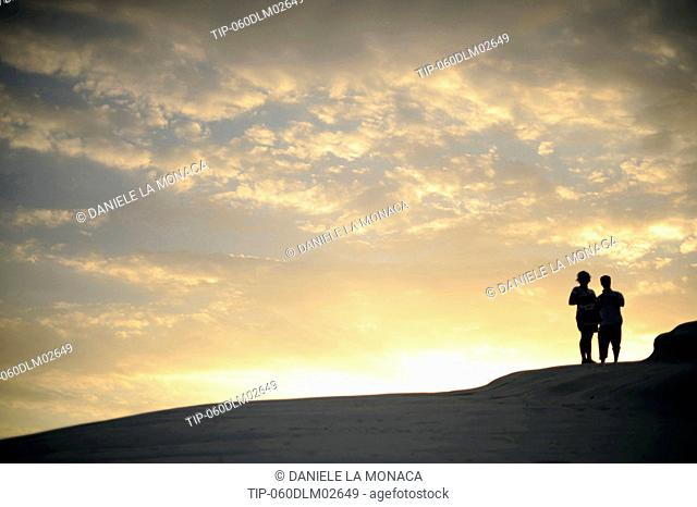 Italy, Sicily, Realmonte Scala dei Turchi at sunset