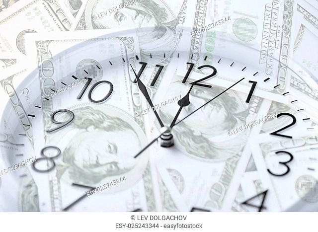 time is money, business and finance concept - wall clock over dollar banknotes with double exposure effect