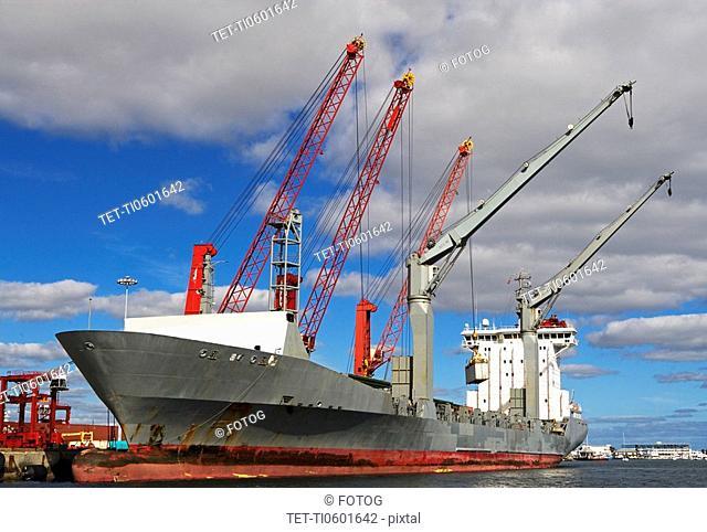 Cranes on cargo ship