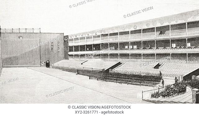 Interior of the Fiesta Alegre Fronton court and stands, Madrid, Spain seen here on the day of its inauguration, it was later demolished in the 20th century