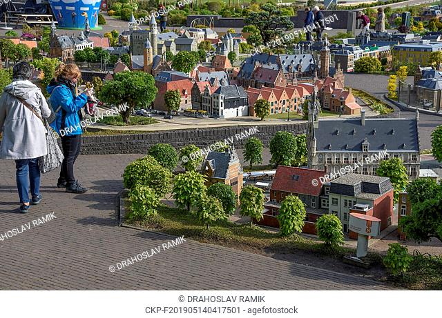 Tourists visit Miniature park and tourist attraction Madurodam in Hague in the Netherland, May 7, 2019. It is home to a range of 1:25 scale model replicas of...