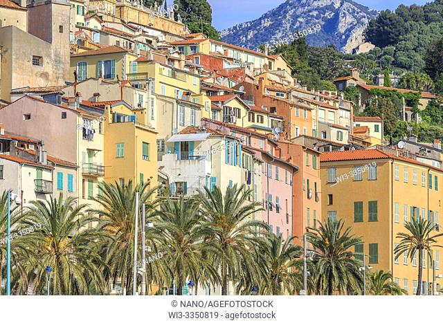 France, Alpes Maritimes, Menton, colourful houses facade in the old city