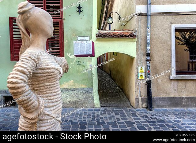 Statue pointing Strada Sforii - Rope Street in Brasov, Romania, believed to be one of the narrowest streets in Europe