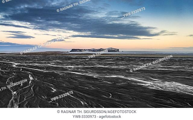 Landscape, Hjorleifsholfdi, South Coast, Iceland. . The mountain is located on the Myrdalssandur outwash plain near Vik
