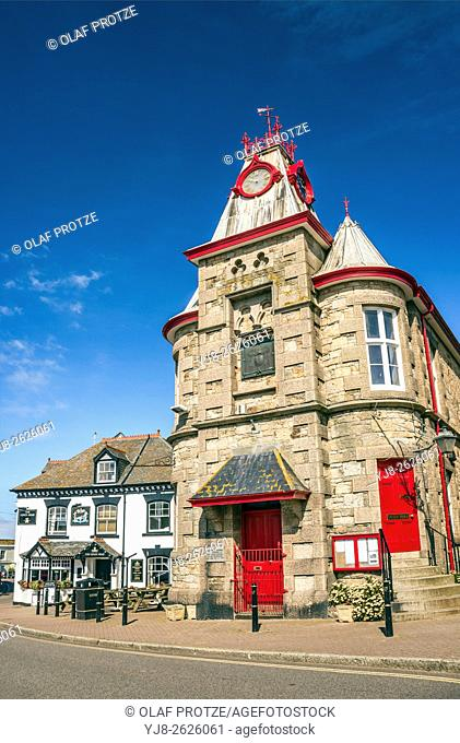 Townhall of Marazion, the gateway to St. Michaels Mount, Cornwall, England