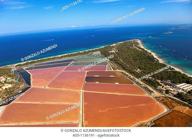 Ses Salines salt pit.  On the left, Es Cavallet beach and on the right, Ses Salines Beach. Ibiza. Balearic Islands. Spain