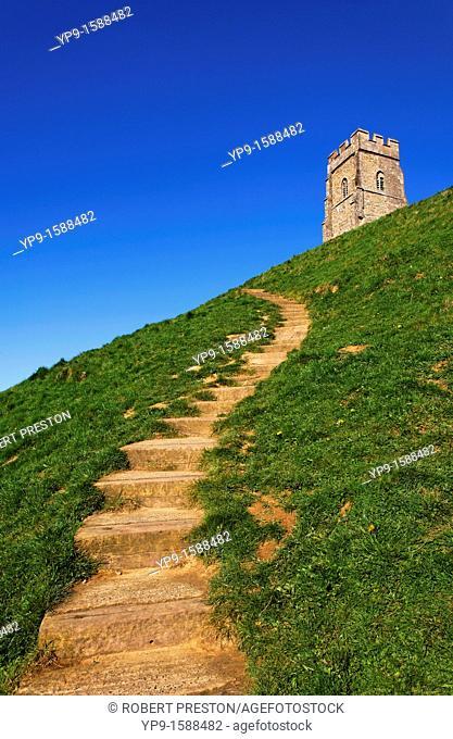 Steps leading up Glastonbury Tor, Glastonbury, Somerset, England