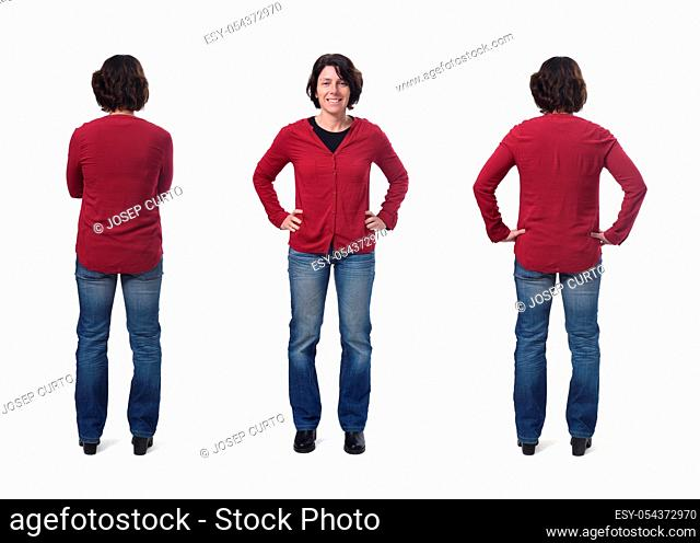 front and back of a woman on white