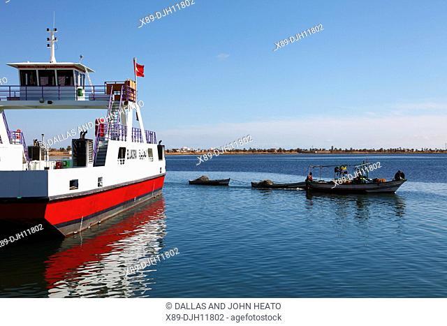 Africa, Tunisia, Gulf of Gabès, Automobile Ferry Crossing from Ajim on Djerba Island to Jorf, Fishing Boat