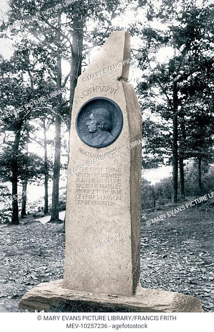 Derwent Water, Friars Crag Ruskin Monument 1906