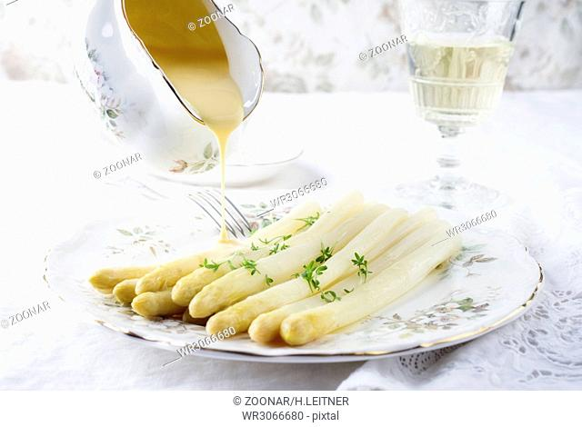 White Asparagus on Plate