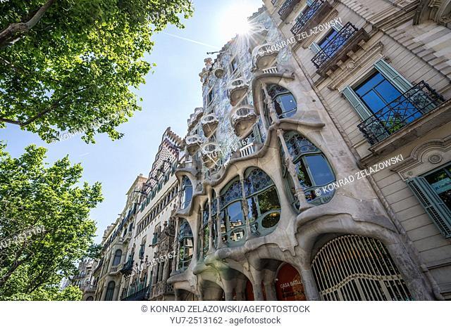 renovated Casa Batllo building (called House of Bones) designed by Antoni Gaudi at Passeig de Gracia avenue in Barcelona, Spain