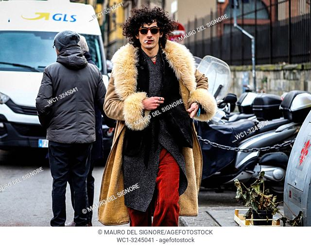 FLORENCE, Italy- January 9 2019: Men on the street during the Pitti 95