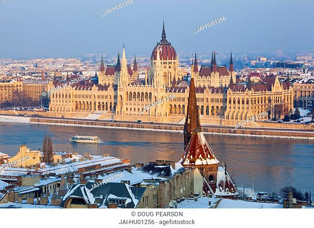 Hungarian Parliament Building and the River Danube, Budapest, Hungary
