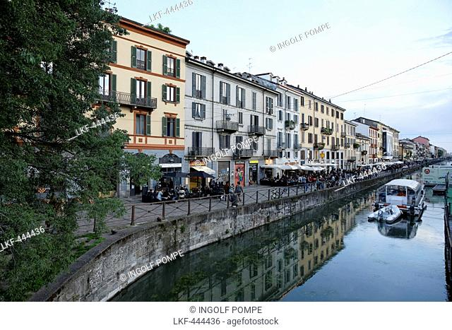 Restaurants and bars along a canal, Navigli quarter, Milan, Lombardy, Italy