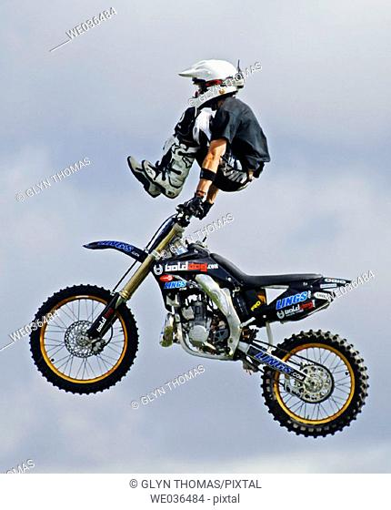 Motorbike Stunt display show at Stoneleigh Coventry England UK