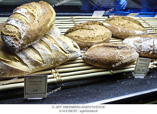 United Kingdom Great Britain England, London, South Kensington, PAUL Bakery & Cafe, loaf, artisanal, pain de campagne, farmhouse bread, display sale