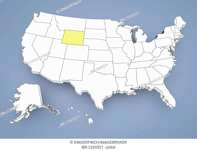 Wyoming, WY, highlighted on a contour map of USA, United States of America, 3D illustration