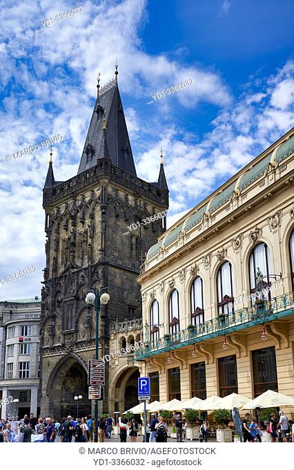 Prague Czech Republic. Municipal House and Powder Tower