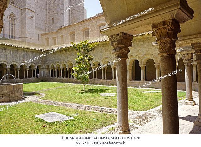Romanesque cloister. Catedral de Santa Maria. Girona, Catalonia, Spain, Europe