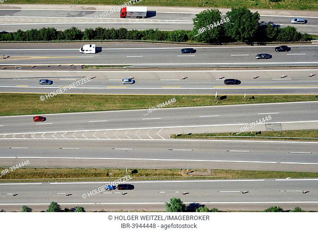 Aerial view, highway with many lanes, Hamburg, Germany