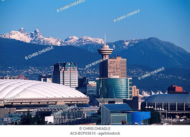 Downtown during the day with mountains beyond, Vancouver, British Columbia, Canada