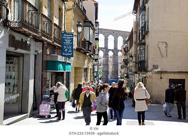 Streetscape, Segovia, Castile-Leon, Spain, Europe