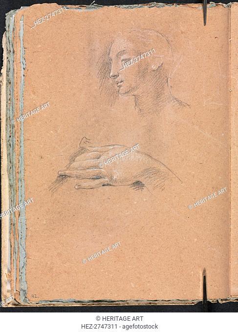Verona Sketchbook: Female head and left hand (page 42), 1760. Creator: Francesco Lorenzi (Italian, 1723-1787)