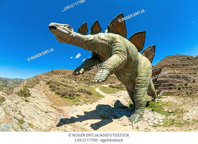 Real.size recreation models of dinosaurs made from fiberglass and concrete at the Munilla palaeontological site, La Rioja, Spain