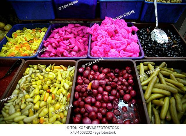 Olives and other delicacies at a market in the old city section of Jerusalem