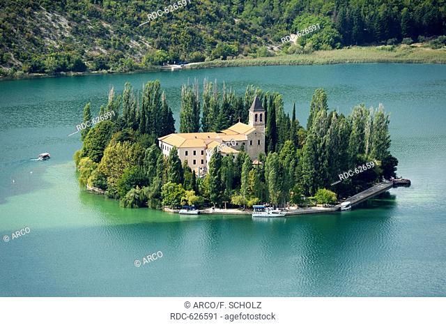 Roman Catholic monastery, Island of Visovac, national park Krka, Sibenik-Knin, Dalmatia, Croatia